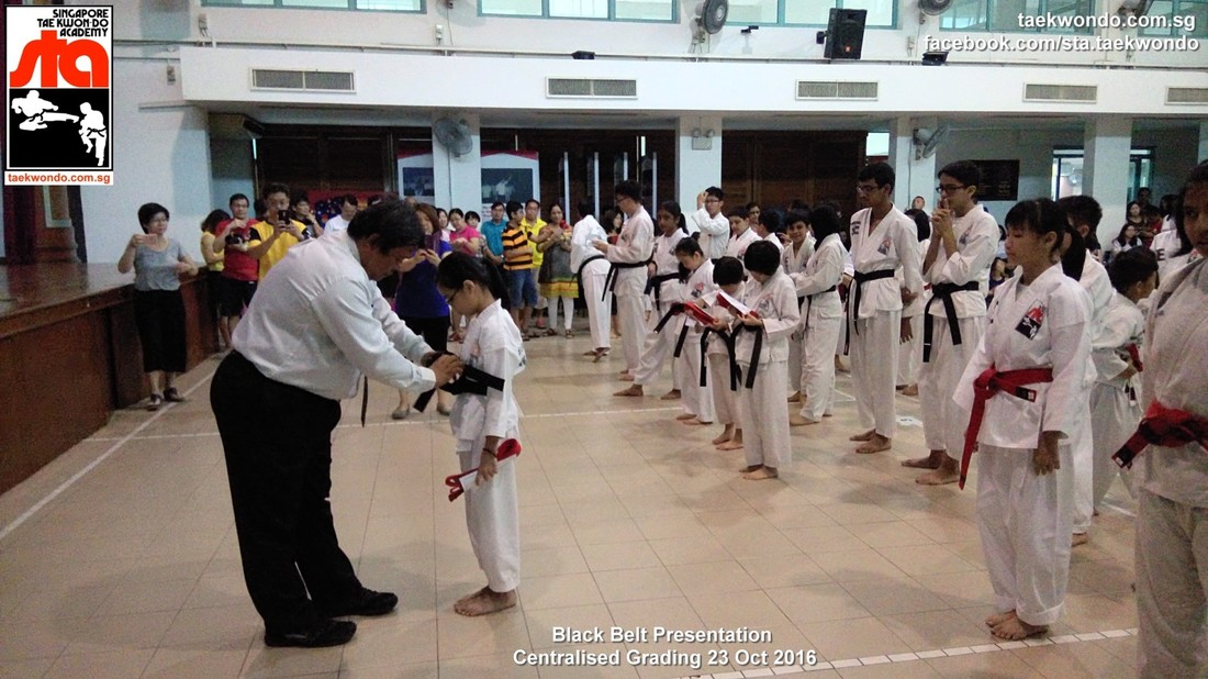 Master Lee Yan Shyong Awarding Tying the Black Belt and Certificate Presentation 23 Oct 2016 Grading Singapore Taekwon-do Academy HQ Taekwondo TKD Sg
