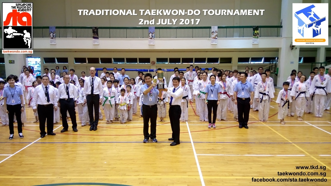 Grandmaster BS HUAN Challenge Trophy awarded to Champion Club Compassvale Aspella, Singapore Taekwon-do Academy
