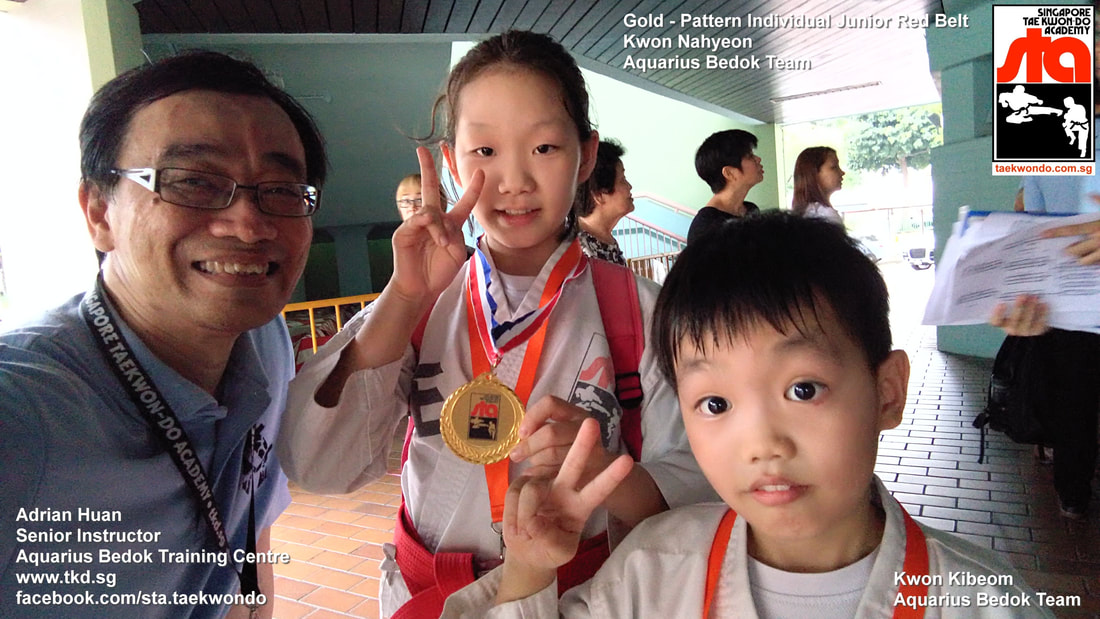 Kwon Nahyeon won Gold medal Best Patterns Hyung Tul Teul Competition Tournament Head Instructor Adrian Huan Kids Children Self Defence Martial Arts Aquarius Bedok Reservoir Tampines East Coast Club School Singapore Taekwon-do Academy HQ Traditional Taekwondo STA TKD SG