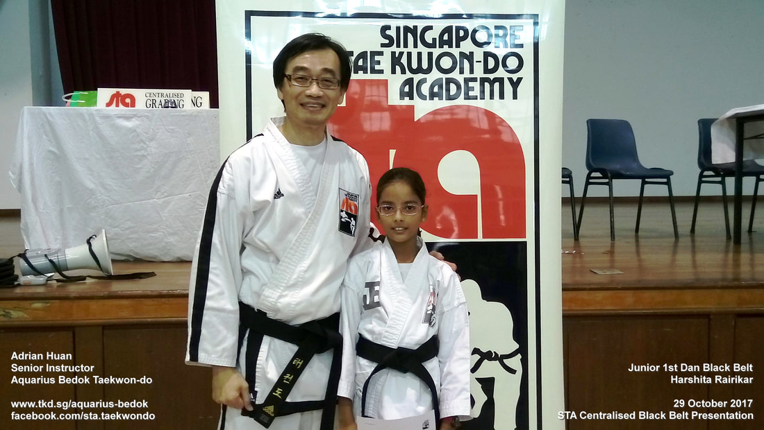 Harshita Aquarius Bedok Taekwondo Junior Black Belt 1st Dan 29 Oct 2017 Adrian Huan Centralised Grading Promotion Singapore Taekwon-do Academy HQ International Recognised TKD SG