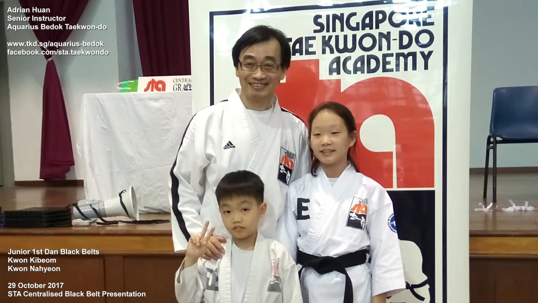 Nahyeon Kibeom Aquarius Bedok Taekwondo Junior Black Belt 1st Dan 29 Oct 2017 Adrian Huan Centralised Grading Promotion Singapore Taekwon-do Academy HQ International Recognised TKD SG