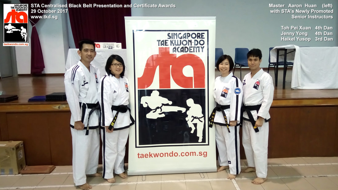 Aaron Huan Toh Pei Xuan Jenny Yong Haikel Yusop Senior Instructor Black Belt Grading 4th Dan 3rd Dan 29 Oct 2017 STA New Promoted Singapore Taekwon-do Academy HQ Taekwondo TKD SG