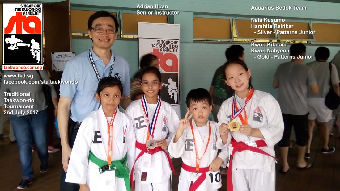Harshita Rairikar won Silver Kwon Nahyeon won Gold Best Patterns Hyung Tul Teul Competition Tournament Head Coach Adrian Huan Kids Children Self Defence Martial Arts Aquarius Bedok Reservoir Tampines Club School Singapore Taekwon-do Academy HQ Traditional Taekwondo STA TKD SG