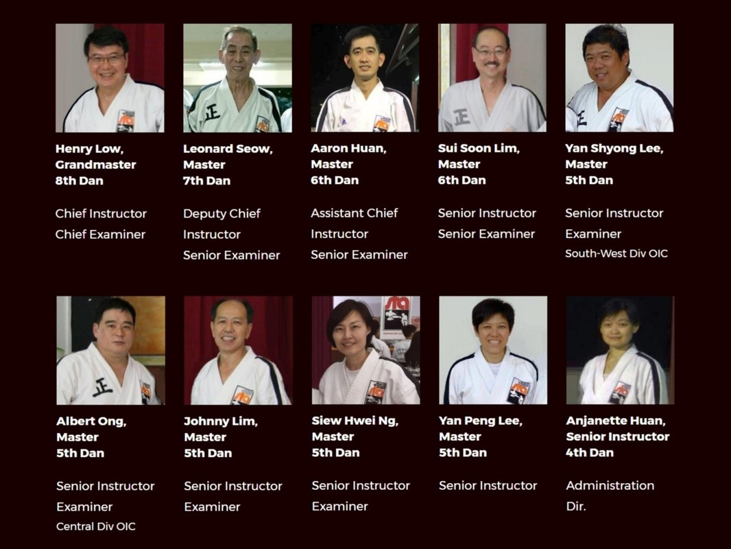 The Team Singapore Taekwon-do Academy Organisation Masters Black Belts Instructors