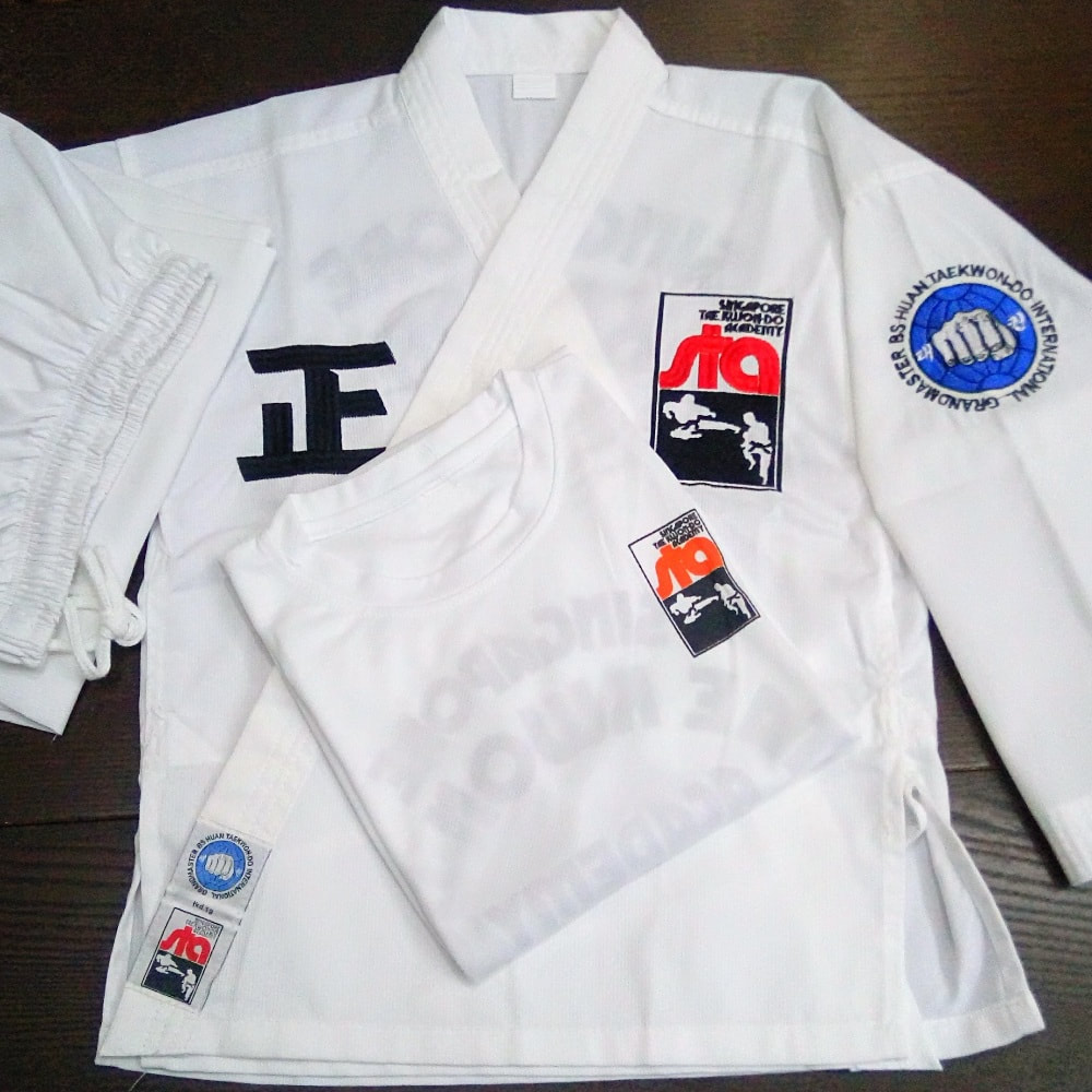 STA Uniform Pants Belt T-Shirt Set Singapore Taekwon-do Academy HQ Grandmaster BS Huan Taekwondo International TKD