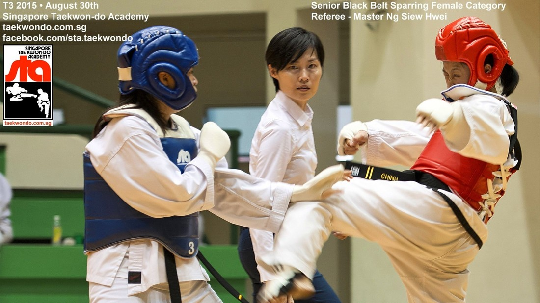 Black Belt Sparring Female Taekwondo Competition T3 2015 Singapore Taekwon-do Academy Master Ng Siew Hwei