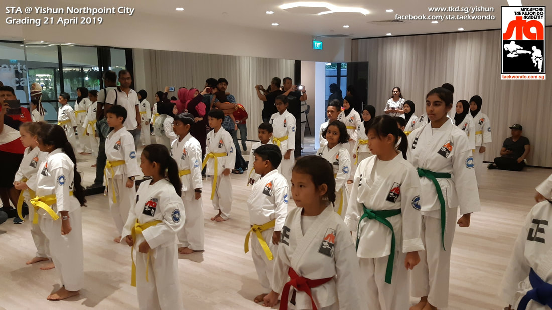STA Grading Yishun Northpoint City Little Arts Academy Singapore Taekwondo Academy TKD Instructor Adrian Huan Grandmaster BS Huan International School 21 April 2019
